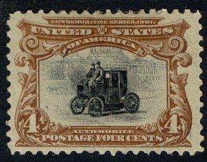 US #296 SCV $170.00 XF mint hinged, a super centered stamp, wonderful fresh c...
