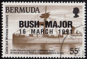 Bermuda 1991 used Sc #606 BUSH-MAJOR O/P on 55c Cableship SS Westmeath