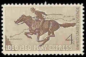 PCBstamps   US #1154 4c Pony Express Cent.,1960, MNH, (3)