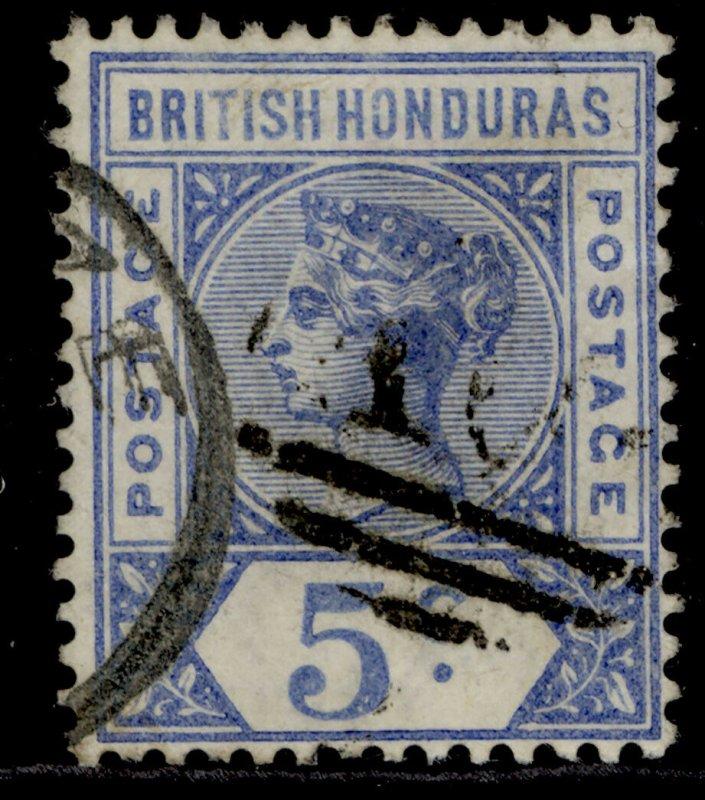 BRITISH HONDURAS QV SG54, 5c ultramarine, FINE USED.