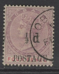 TOBAGO SG33a 1896 ½d on 4d LILAC & CARMINE SPACE BETWEEN ½ AND d USED