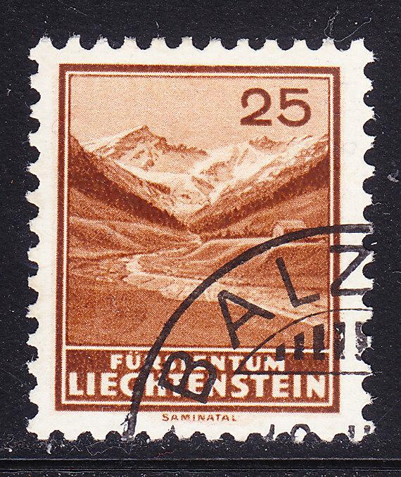 Liechtenstein-1935 25rp-Saminata VF-Used (o) Zum.No110 Key Stamp to set