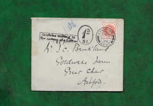GREAT BRITAIN  1899 COVER TO ASHFORD ADDED 1d and Cachet-unusual