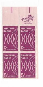 United States, 1260, 5c Amateur Radio ZIP Block of 4 UR, MNH