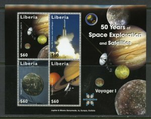 LIBERIA  VOYAGER I 50 YEARS OF SPACE EXPLORATION SHEET MINT NH