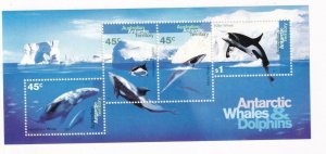 AUSTRALIAN ANTARCTIC TERRITORY WHALES AND DOLPHINS MNH S/SHEET