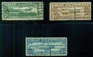 US #C13-15 Complete Zeppelin set 65¢ to $2.60, used, VF