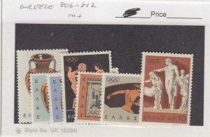 J25842  jlstamps 1964 greece set mnh #806-12 olympics, all checked & sound