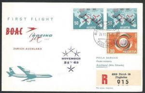SWITZERLAND 1965 BOAC first light cover Zurich - Auckland,, New Zealand....10585
