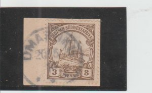 German South West Africa  Scott#  26  Used on Piece  (1907 Hohenzollern)