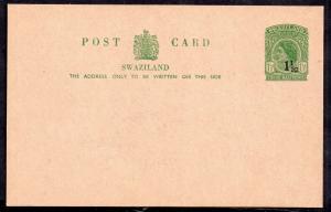 Swaziland QEII 1 1/2c on 1 1/2d Postal Stationery Card H&G7 mint WS13994