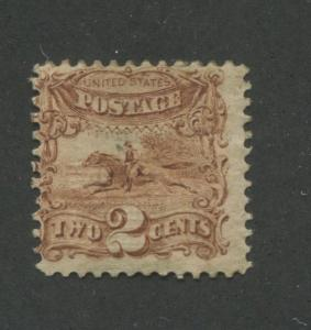1869 US Stamp #113 2c Mint Original Gum Average G. Grill Catalogue Value $500