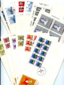 Canada  11  FDC  all but 1 unadressed all with blocks 4 + VF