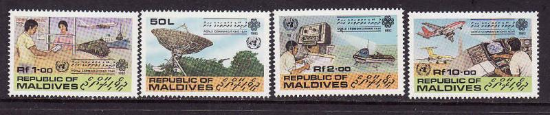 D1-Maldives-Scott#997-1000-unused NH set-Communications year
