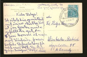 Germany DDR 191 on PM 1956 Dresden Postcard Used