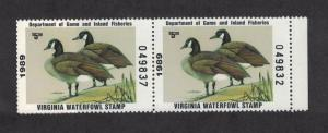 VA2h - Virginia State Duck Stamp.Hunter Type Pair. MNH. OG.