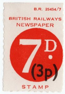 (I.B) British Railways Board : Newspapers 7d (dual currency)