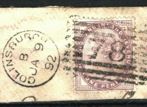 GB SCOTLAND Numerals COLINSBURGH Late Type *78* Dated Piece 1892 Postmark SS3499