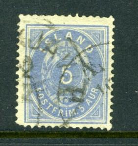 Iceland #9 5aur Blue SHIELD ISSUE (Used) and NICE cv$825.00