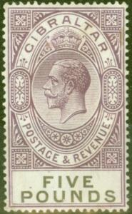 Gibraltar 1925 £5 Violet & Black SG108 Fine Lightly Mtd Mint