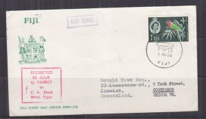 FIJI, 1964 QE, Block CA, 4s. Parrot on fdc.