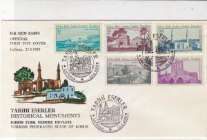 Turkish Federated Cyprus 1980 Historical Monuments FDC Stamps Cover Ref 23627