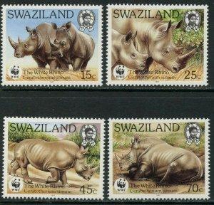 SWAZILAND Sc#519-522 1987 WWF White Rhinoceras Complete Set OG Mint NH