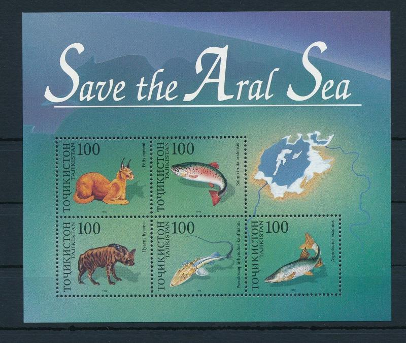 [26009] Tajikistan 1996 Marine Life Save the Aral Sea Fish Hyena MNH
