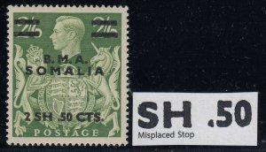Somalia BOIC, SG S19a, MLH Misplaced Stop variety