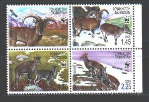 Tajikistan. 2005. Quart 392-95. Mountain goats WWF. MNH.