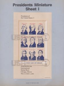 REDUCED!! 1986 Four American Presidents S/S Souvenir Page FDC's