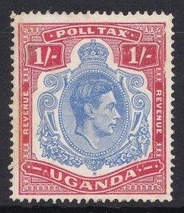 AUC1107) Uganda KGVI 1/- Poll Tax Revenue, mint with part original gum