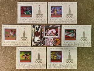 Stamps Deluxes Blocs + S/S Olympic Games Moscou 80 Comores 1979 Perf.