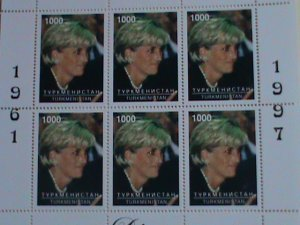 TURKMENISTAN  STAMP: 1997- PRINCE DIANA- WITH GREEN HAIR-MINT NH S/S  SHEET