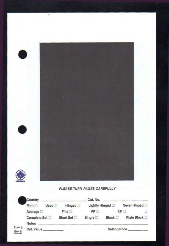 Uni-Safe #4 Counter Book Large Pocket 3 Hole Storage Display Page Pac of 25 NEW