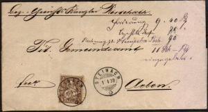 SWITZERLAND 1878 5f on cover ex STEINACH...................................46673