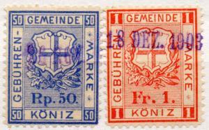 (I.B-CK) Switzerland Revenue : Köniz Duty Stamps