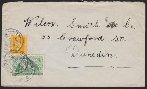 NEW ZEALAND 1920 2½d rate cover Hokitika to Dunedin with ½d Victory.........2741