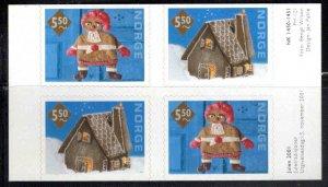 Norway Scott 1320-1321a  Christmas  2001 self adhesive booklet pane