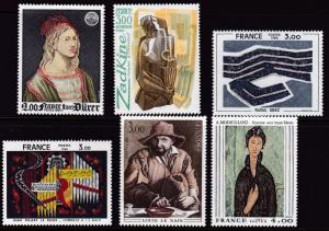 France 1980 ART Complete (7) Peasant by Louis Le Nain VF/NH