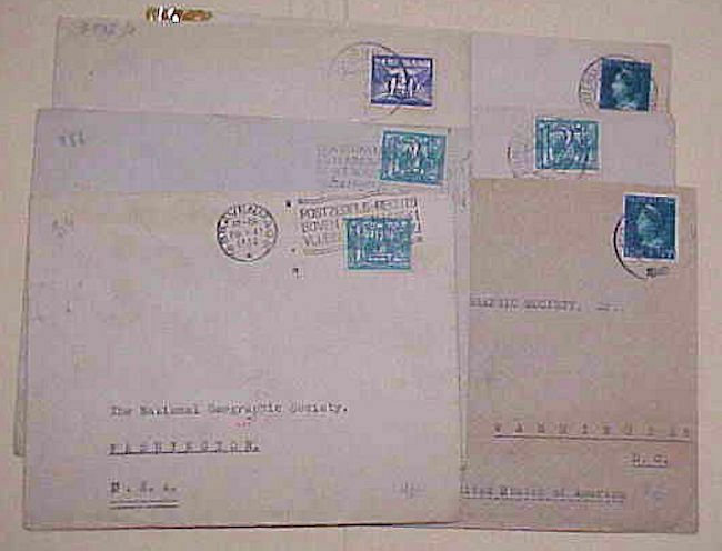 NETHERLANDS  6 GERMAN CENSORED COVERS 1940's MOSTLY TO USA