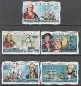 Madagascar 525-526,C137-C139 Sailing Ships MNH VF