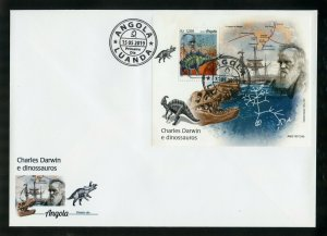 ANGOLA 2019 CHARLES DARWIN AND DINOSAURS SOUVENIR SHEET FIRST DAY COVER