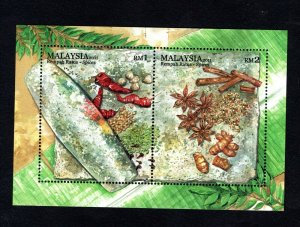 2011- Malaysia - Malaysian Spices- Plant Flower Chili Ginger Food- Block MNH**