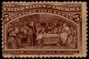 US Scott #234 Columbian Exposition - American Banknote Printing - Used CV~$10