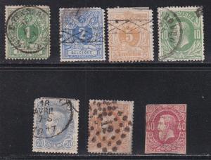 Belgium #, 28-30, 33-35, King Leopold II, used, 10% Cat.
