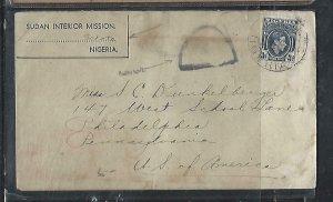 NIGERIA  (P2808BB) 1942 KGV 3D FROM SUDAN INTERIOR MISSION SOKOTO CENSOR TO USA