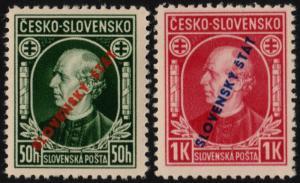 ✔️ SLOVAKIA 1939 - ANDREJ HLINKA OVERPRINT PERF 12½ - SC.24/25 MNH OG [SK0024]