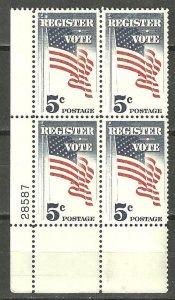 U.S. 1964 Register Vote Flag 5c Margin Plate # Block of 4 #1249 MNH
