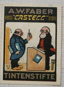 A.W. Faber Castell Tintenstifte ink pens CSH ad poster stamp label write teacher